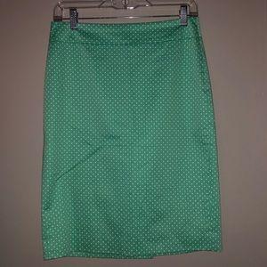 Ann Taylor green polka dot skirt